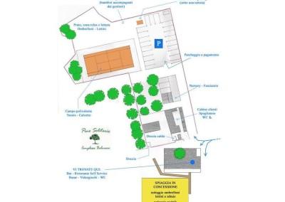 Mappa servizi del complesso balneare Pino Solitario di Fetovaia